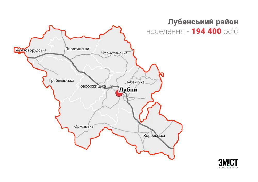 Карта Лубенського району